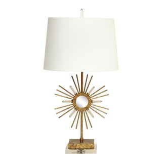 Gilt Metal Sunburst Lamps For Sale