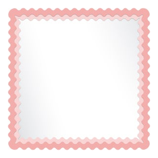 Fleur Home x Chairish Carnival Chaos Square Mirror in Pink Punch, 30x30 For Sale