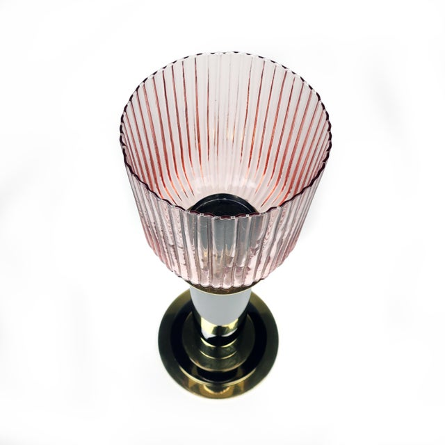 1980s Brass, Grey Metal and Pink Glass Candle Holder by Lorin Marsh For Sale In New York - Image 6 of 8