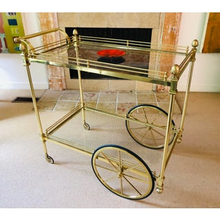 Vintage Brass Bar Cart With Two Tiered Glass Preview
