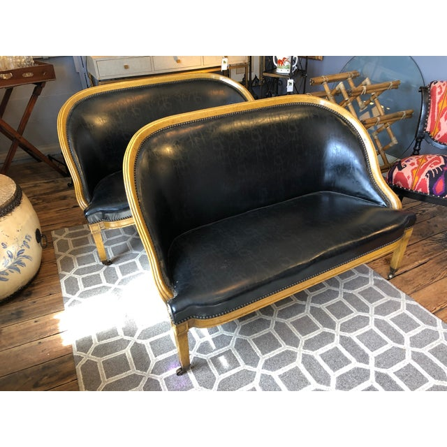 Pair of English Library Fruitwood and Faux Black Leather Loveseats For Sale - Image 4 of 13