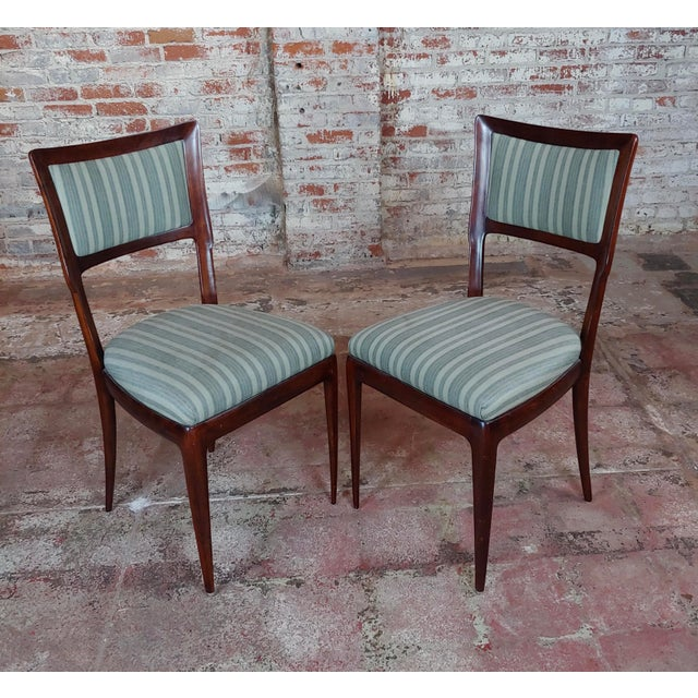 Vintage Italian Art Deco Mahogany Dining Chairs - Set of 6 For Sale - Image 4 of 10