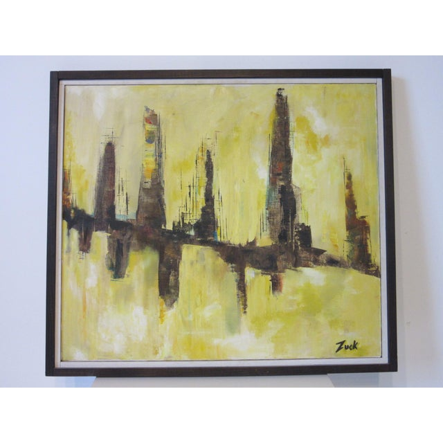 Yellow Cityscape Painting by Zuck For Sale - Image 8 of 8
