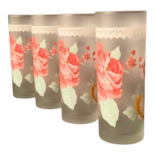 Mid-Century Frosted Glass with Pink and Orange Roses Modern Tumblers - Set of Four For Sale