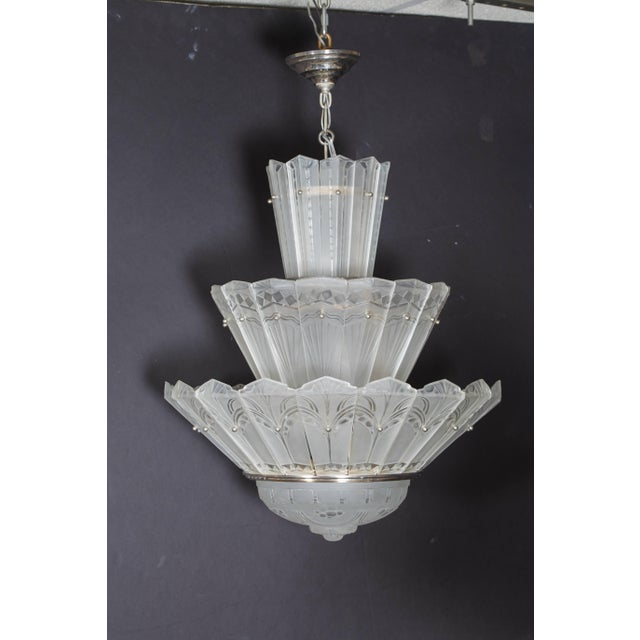 Art Deco Rare Original French Art Deco Tiered Sabino Chandelier For Sale - Image 3 of 12