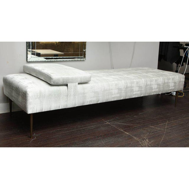 Brass Sleek Custom Daybed with Removable Pillow and Brass Legs For Sale - Image 7 of 7
