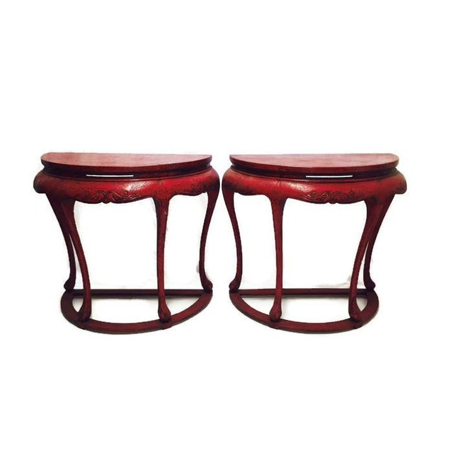Chinoiserie Red Demilune Console Tables - a Pair - Image 1 of 10