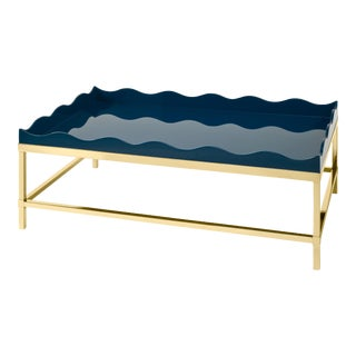 Rita Konig Collection Belles Rives Coffee Table Brass in Marine Blue For Sale