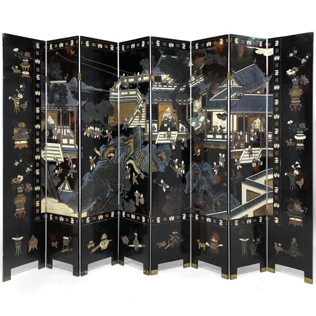 Chinese Eight Panel Coromandel Folding Lacquered Screen For Sale - Image 13 of 13