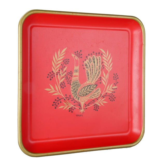 Signed Maxey Vintage 1960s Peacock Tin Tray For Sale
