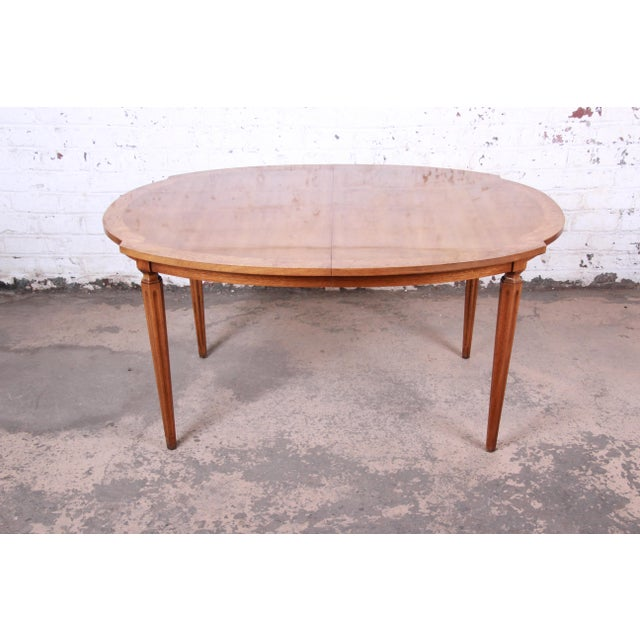Romweber Mid-Century Modern Cherry and Burl Wood Dining Set, 1960s - Set of 7 For Sale - Image 10 of 13