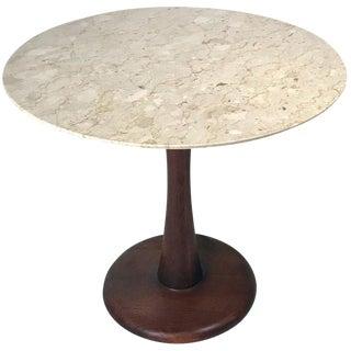 Botticino Marble Pedestal Dinette Cafe Entry Table in the Manner of Nanna Ditzel