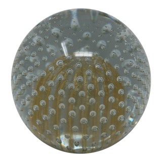 Controlled Bubble Art Glass Paperweight For Sale