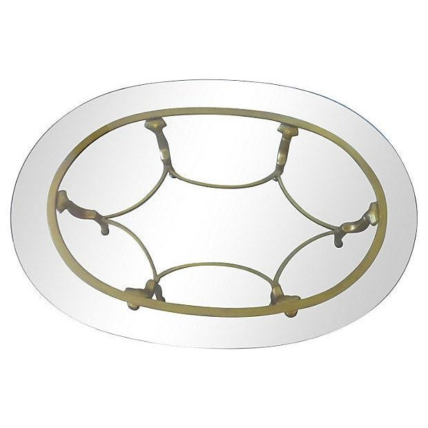 Gold Metal & Glass Oval Coffee Table - Image 3 of 4