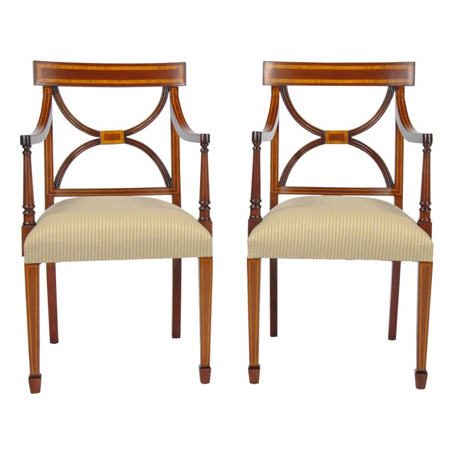 Sheraton Inlaid Mahogany Arm Chairs - A Pair For Sale - Image 9 of 9