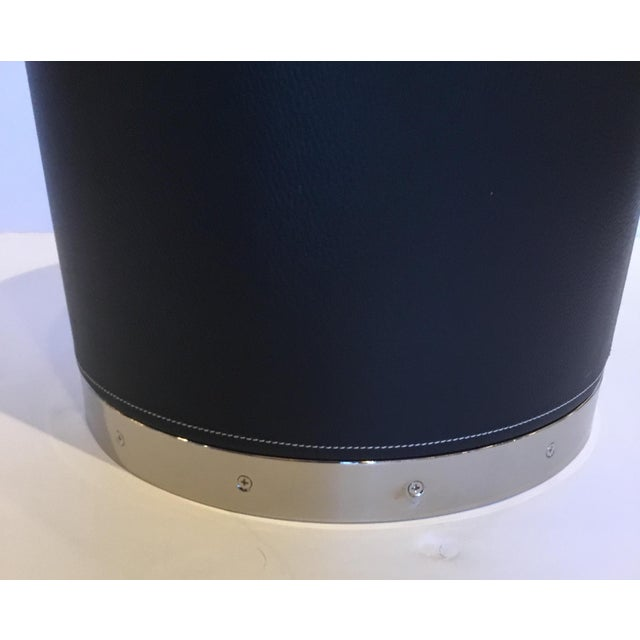 Modern Black Leather and Nickel Barrel Side Table For Sale - Image 4 of 5