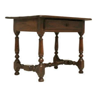 18th C Rustic French Oak Farmhouse Side/End/Writing Table w/Drawer