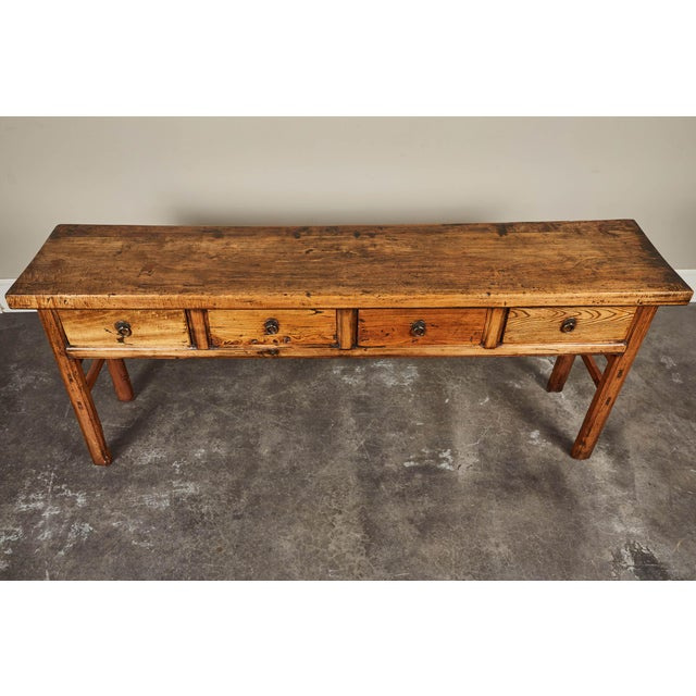 Mid 19th Century 19th C. Chinese Elm Four Drawer Altar Table For Sale - Image 5 of 10
