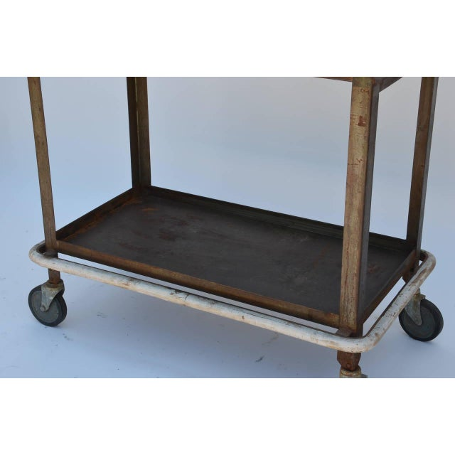 1950s Sturdy Industrial Bar Cart on Wheels For Sale - Image 4 of 8