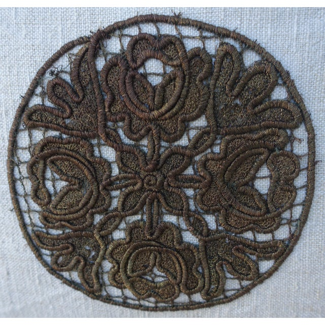 Flower Metallic Applique Linen Pillow - Image 3 of 7
