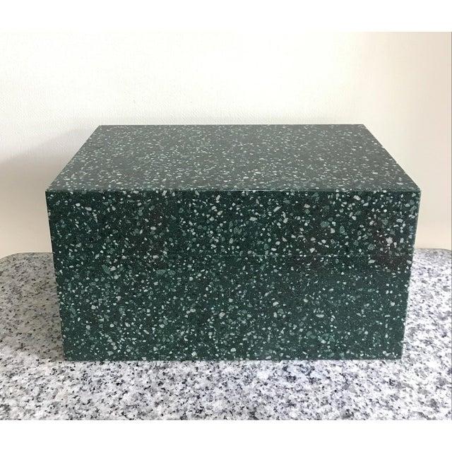 Green Post Modern Green Jesmonite Terrazzo Stone Jewelry Box For Sale - Image 8 of 10