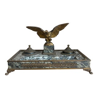 19th Century French Empire Bronze Double Inkwell With Eagle For Sale