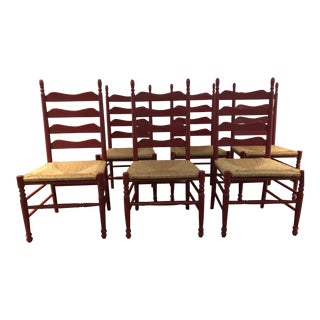 Red Wood and Rattan Ladderback Chairs - Set of 6