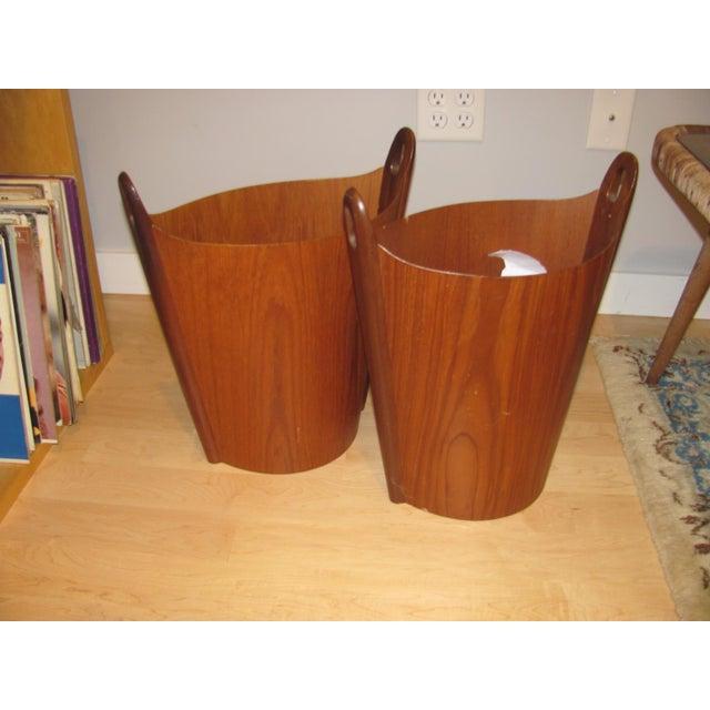 Brown Vintage P. S. Heggen Teak Waste Basket Designed by Einer Barnes For Sale - Image 8 of 9