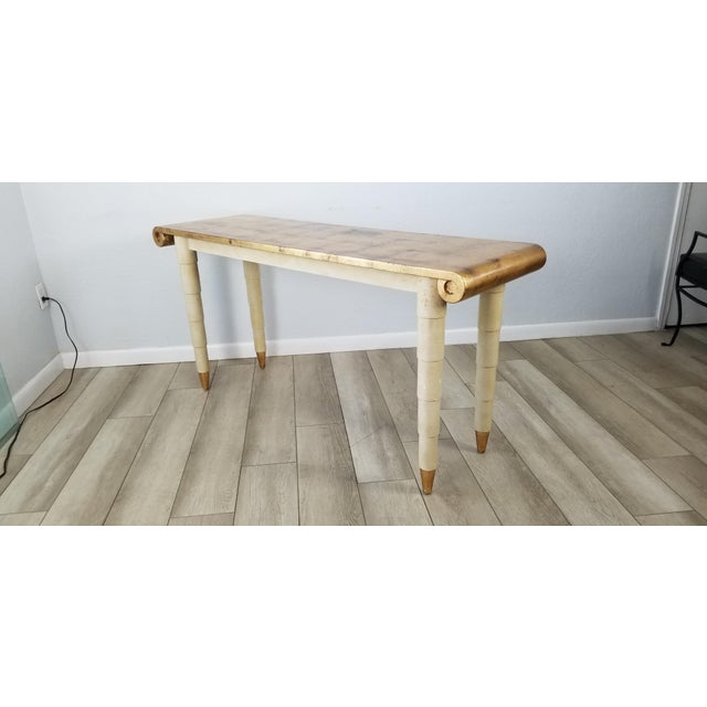 Hollywood Regency Italian Hollywood Regency Gold- Leaf Console Table For Sale - Image 3 of 13