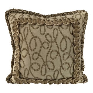 """Donghia Beige 20"""" Square Short Loop Fringe Pillow W/ Goose Down Insert For Sale"""