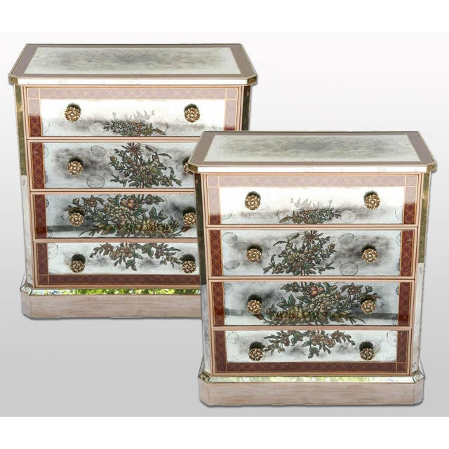 1940s Églomisé Mirrored Chest of Drawers - a Pair For Sale - Image 12 of 13