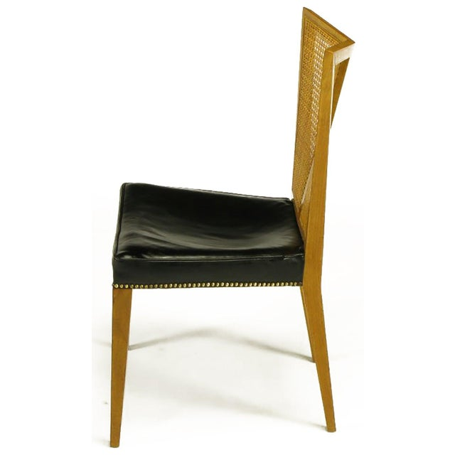 Baker Furniture Company Set of Six Michael Taylor for Baker Walnut and Leather Dining Chairs For Sale - Image 4 of 9
