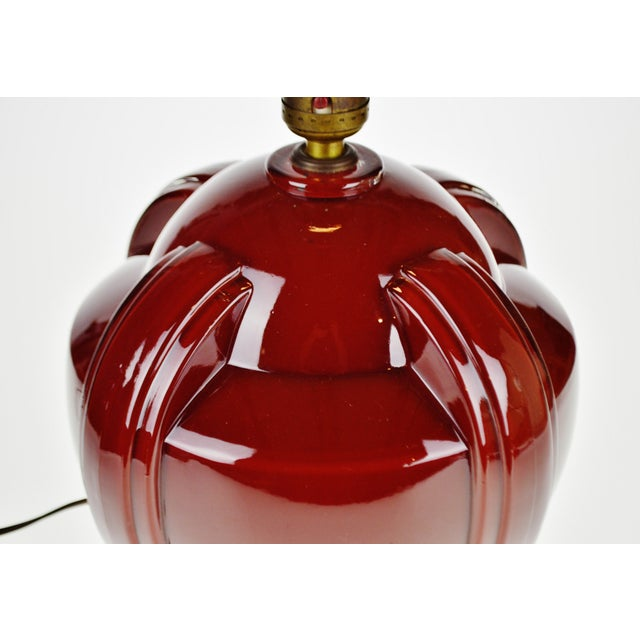 Art Deco Oxblood Reverse Painted Glass Table Lamp For Sale - Image 4 of 13
