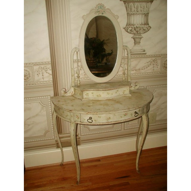 Flowered French Vanity With Mirror & Glove Box - Image 2 of 8