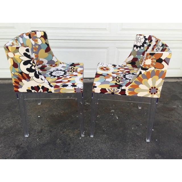 Art Deco Floral Chairs With Acrylic Base - a Pair For Sale - Image 3 of 6