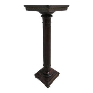 1930s Vintage Custom Chippendale Lincoln Drape Mahogany Pedestal End Table For Sale