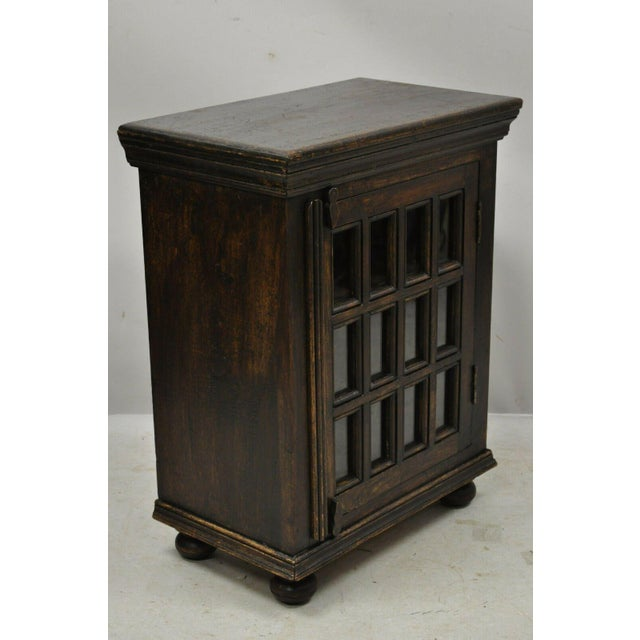 Jacobean Vintage British Colonial Style Small One Door Wooden Curio Display Cabinet For Sale - Image 3 of 12