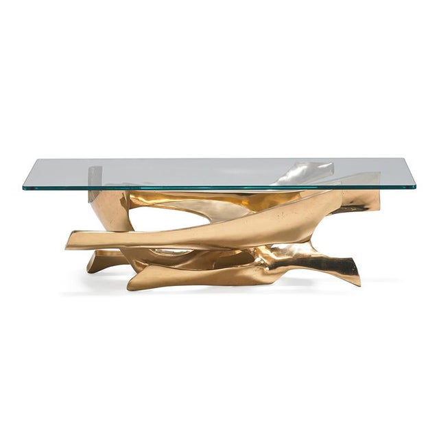 Abstract 1970s Abstract Fred Brouard Superb Sculptural Bronze and Glass Coffee Table For Sale - Image 3 of 6