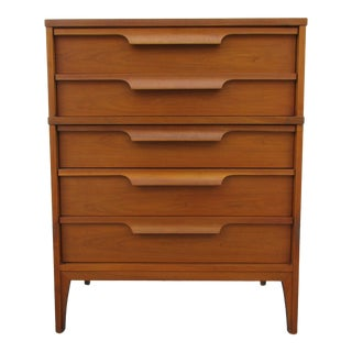 Walnut Dresser With Sculpted Wooden Drawer Pulls For Sale