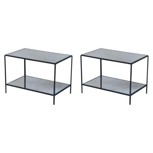Contemporary Design Frères 'Rectiligne' Wrought Iron and Mirror End Tables - a Pair For Sale - Image 11 of 11