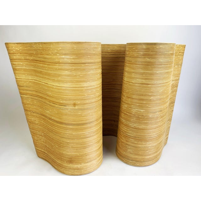Khaki Pencil Reed Bamboo Curvy Ribbon Scroll Console Aft Gabriella Crespi For Sale - Image 8 of 13