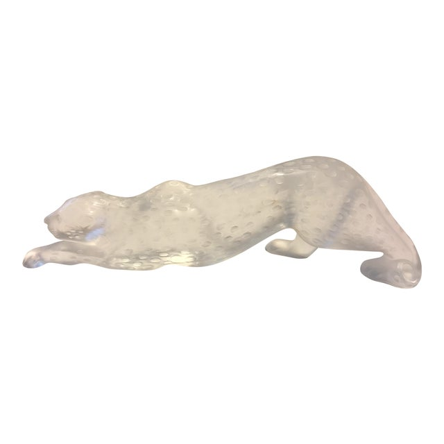 1970s Contemporary Lalique Crystal Panther Sculpture For Sale