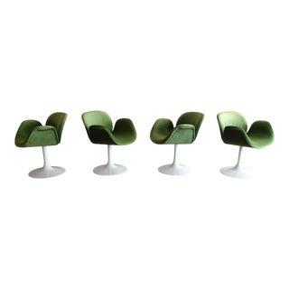 Vintage Paulin Green Velvet Pedestal Base Tulip Midi Chairs - Set of 4 For Sale