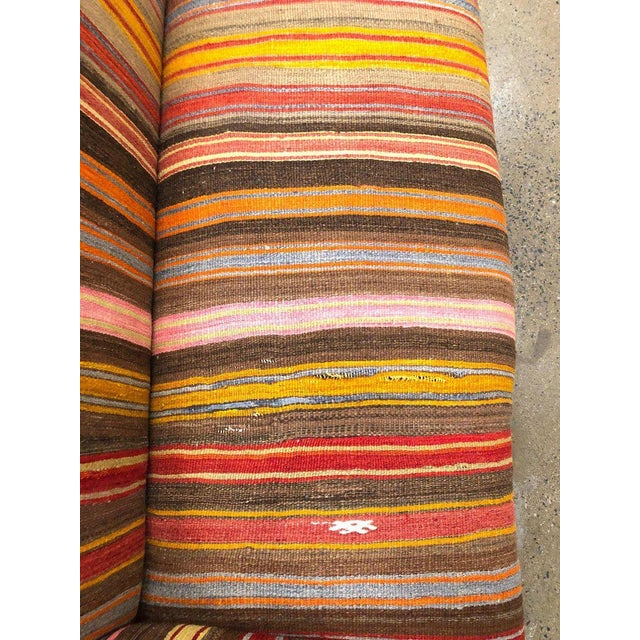 Custom Made Sofa in Vintage Flat Woven Kilim For Sale - Image 9 of 11