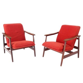 Pair of Mid-Century Danish Modern Solid Oiled Walnut Lounge Chairs For Sale