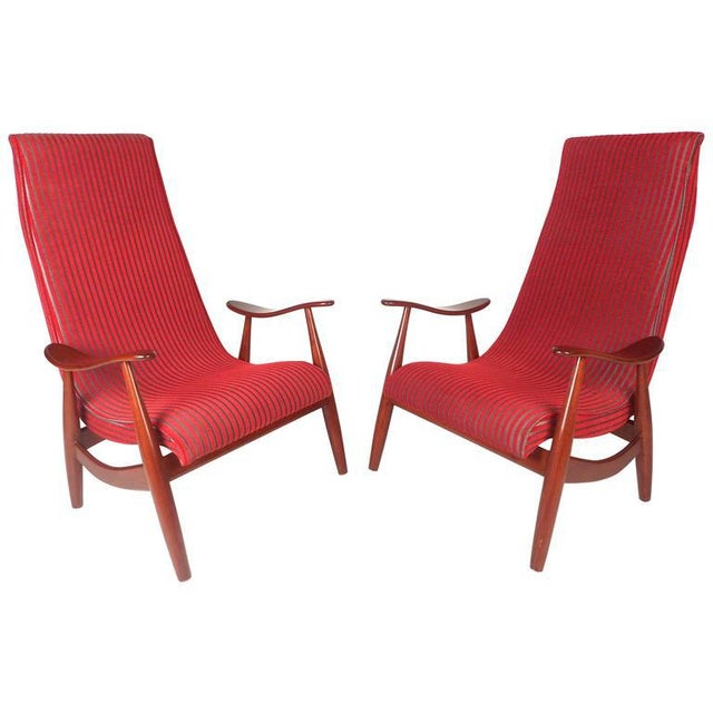 Mid-Century Modern High Back Walnut Lounge Chairs - A Pair - Image 3 of 9
