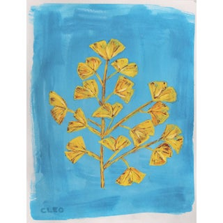 Botanical Ginko Leaves Chinoiserie Painting by Cleo Plowden For Sale