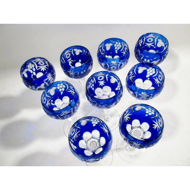 Nachtmann Traube Cobalt Blue Cut Clear Hock Wine Goblets - Set of 9 For Sale In Denver - Image 6 of 11