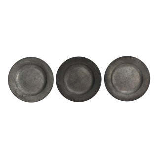 Antique Pewter Plates, - Set of 3 For Sale