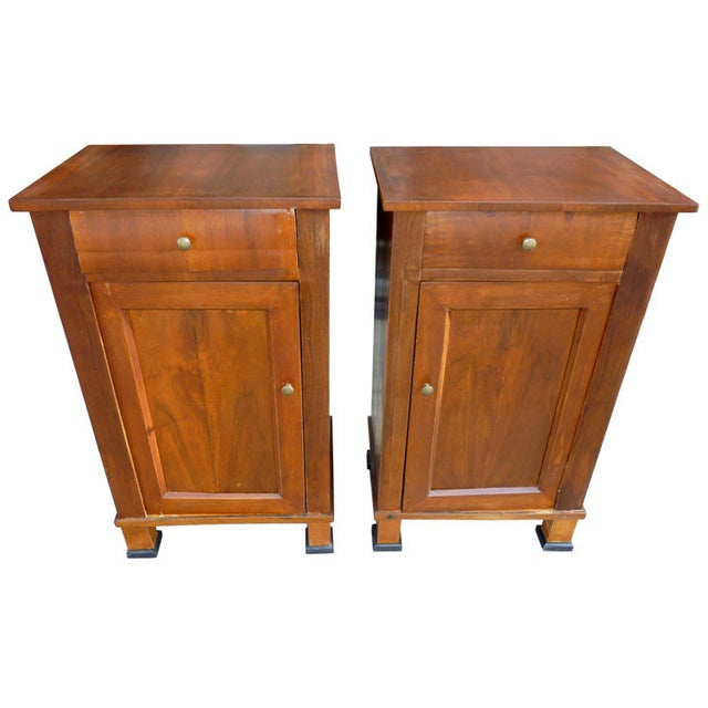 Italian Walnut Nightstands - A Pair - Image 1 of 4